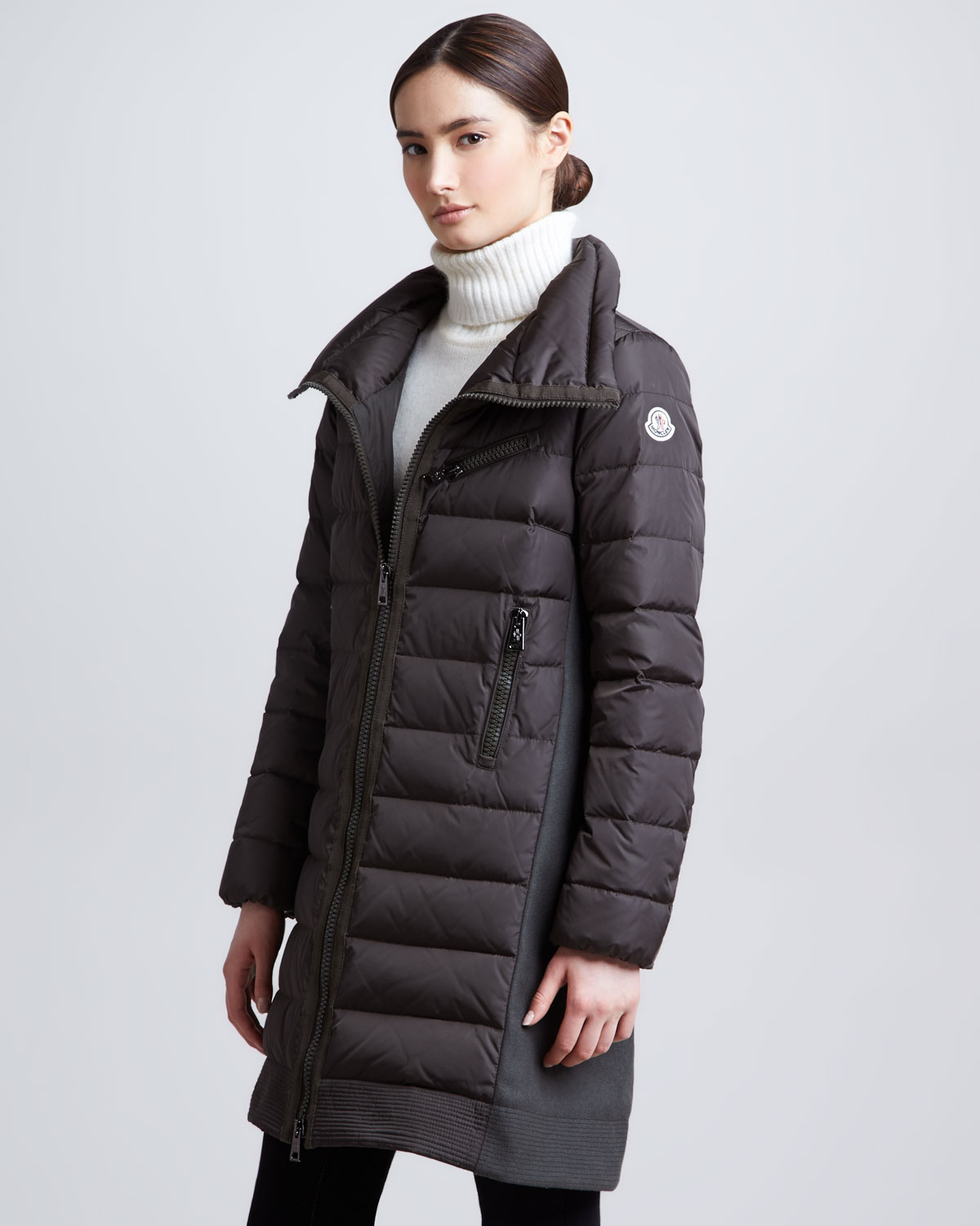 Moncler Long Puffer Coat with Knit Insets Olive in Black | Lyst