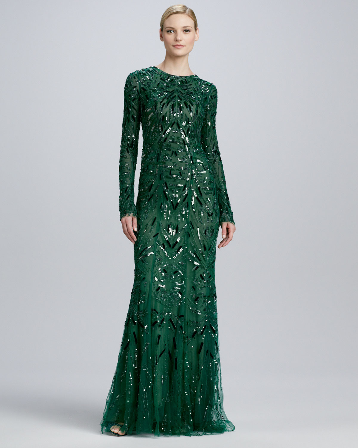 Lyst - Monique lhuillier Beaded Embroidered Long Sleeve Gown in Green
