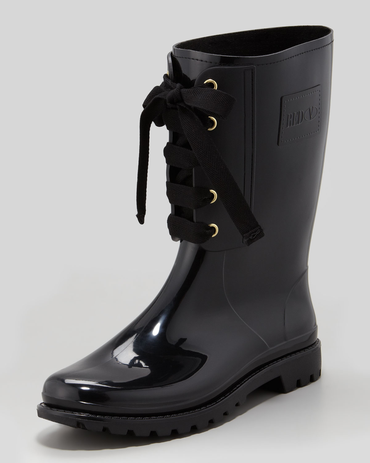 Red valentino Laceup Rain Boot Black in Black | Lyst
