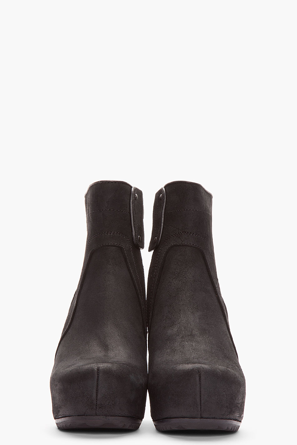 Lyst Rick Owens Black Brushed Suede Wedge Ankle Boots In