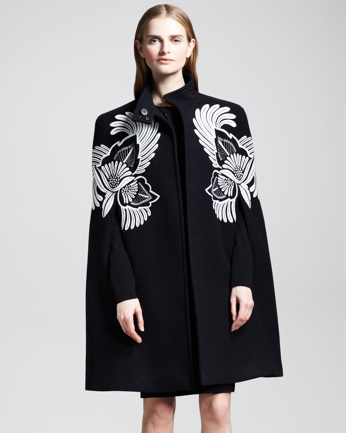Lyst Stella Mccartney Flowerfeather Embroidered Cape
