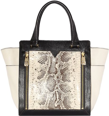 Vince Camuto Tara Leather Colorblock Tote Bag in Black (ivory)