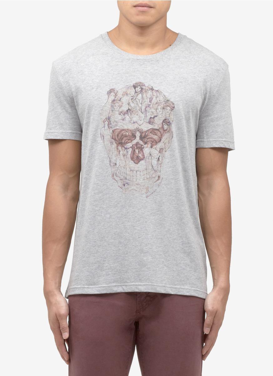 lyst alexander mcqueen 39 lady 39 skull print t shirt in gray for men. Black Bedroom Furniture Sets. Home Design Ideas