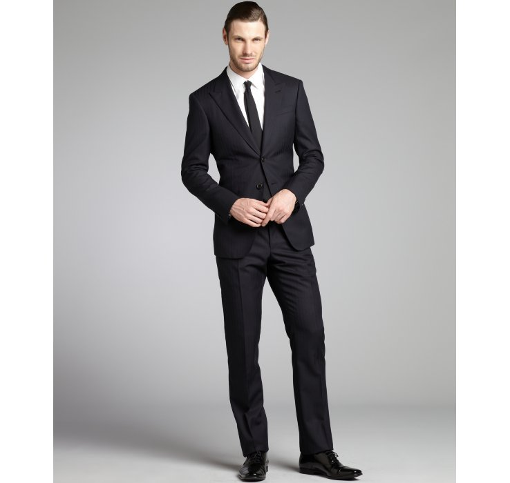 Armani Black Tonal Stripe Wool silk 2 Button Suit with Flat Front ...