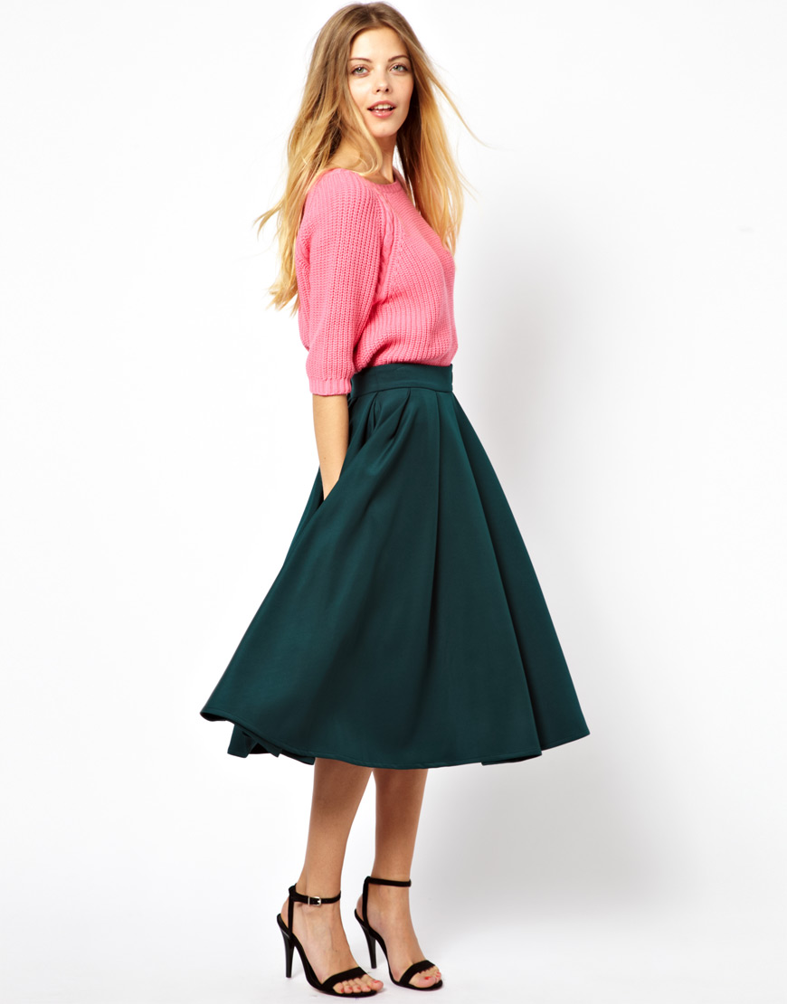 Asos Scuba Midi Skirt with Kilt Buckles in Green | Lyst