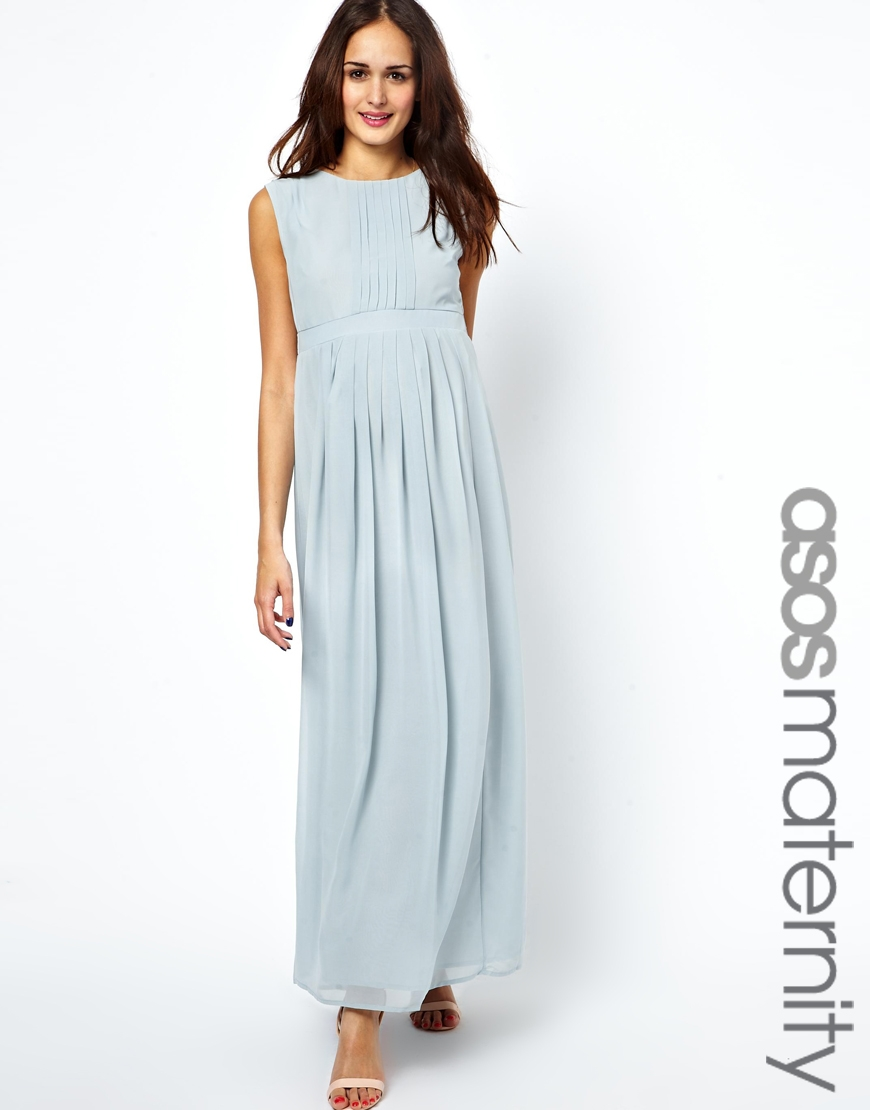 Lyst - Asos Maxi Dress with Pleated Front in Blue