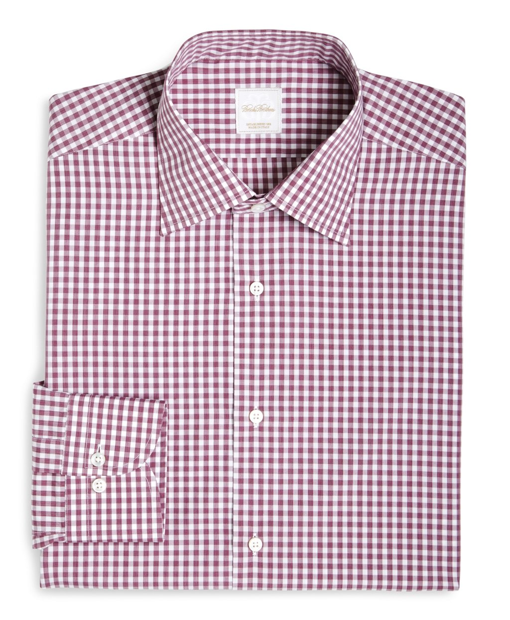 Lyst brooks brothers gingham woven dress shirt in pink for Men s red gingham dress shirt