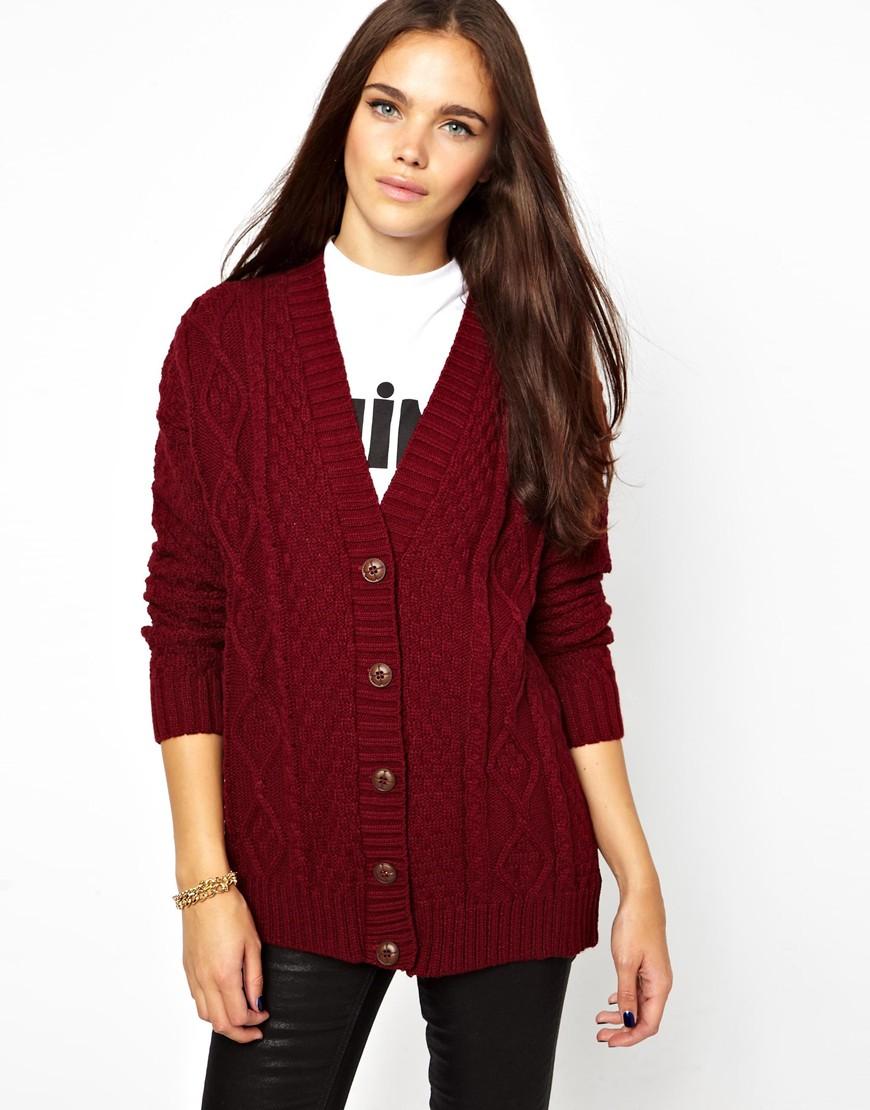 Glamorous Aran Knit Boyfriend Cardigan in Red | Lyst