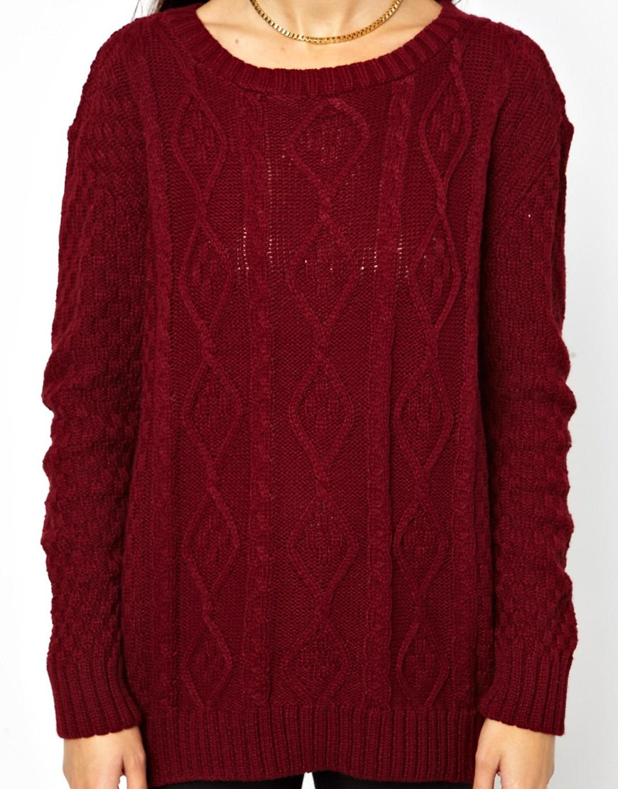 Lyst - Glamorous Cable Knit Jumper in Purple - photo#23