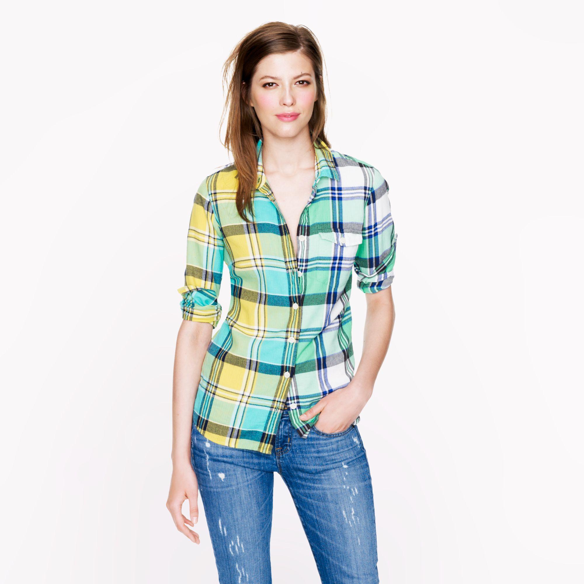 J.Crew Boy Shirt in Green Plaid - Lyst 56940b786