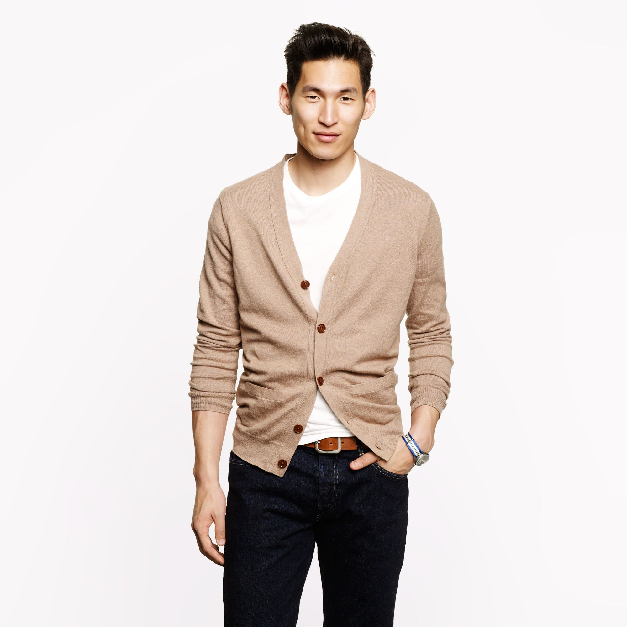 Lyst Jcrew Cottoncashmere Cardigan In Brown For Men