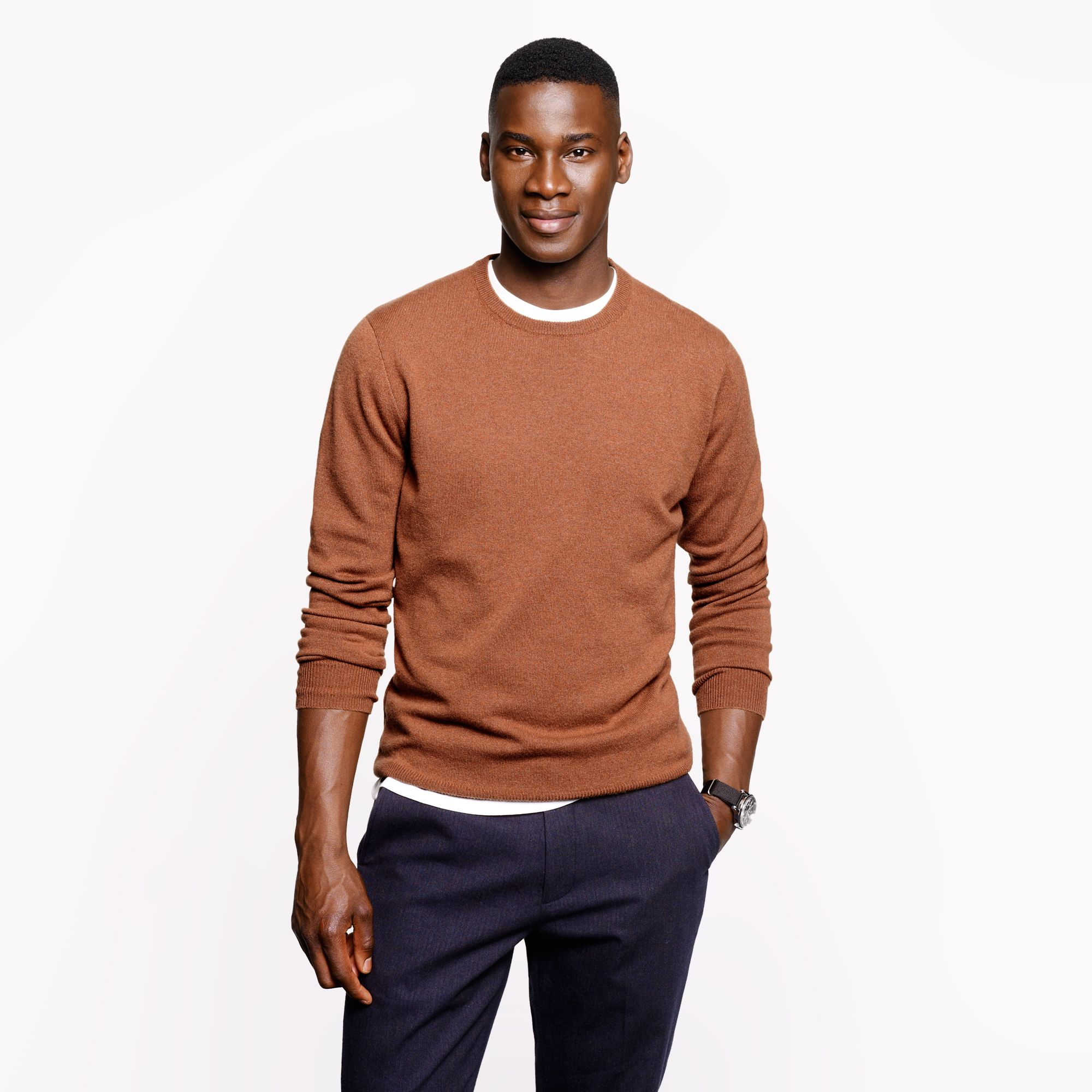 J.crew Cashmere Crew Neck Sweater in Brown for Men | Lyst