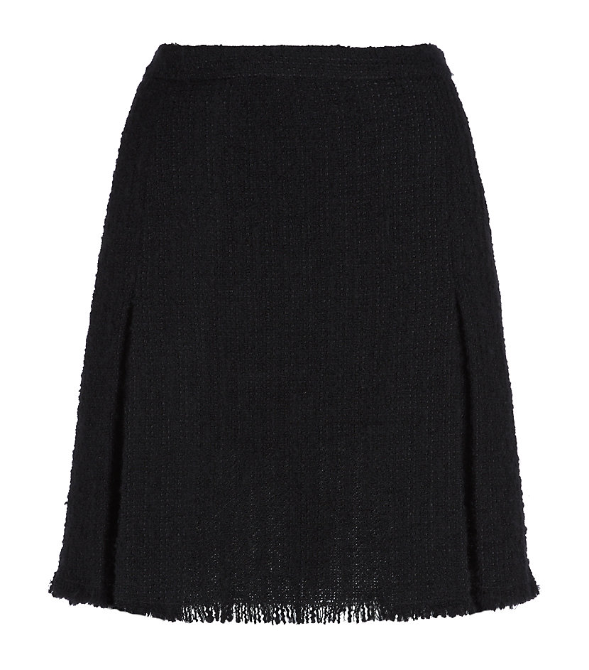 moschino cheap chic boucle pleated mini skirt in black
