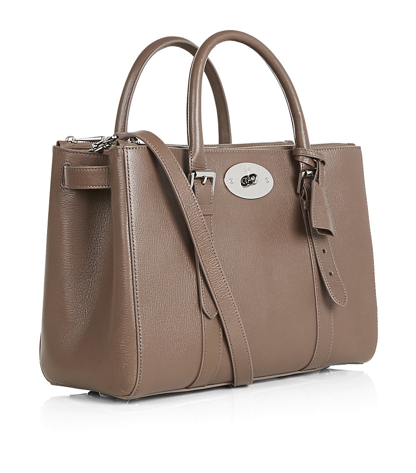 Mulberry bayswater double zip tote in brown lyst for The bayswater