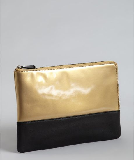 Pour La Victoire Gold and Black Leather Julien Zip Pouch in Gold
