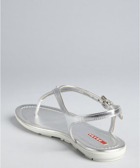 Prada Sport Silver Metallic Leather Logo Thong Sandals In