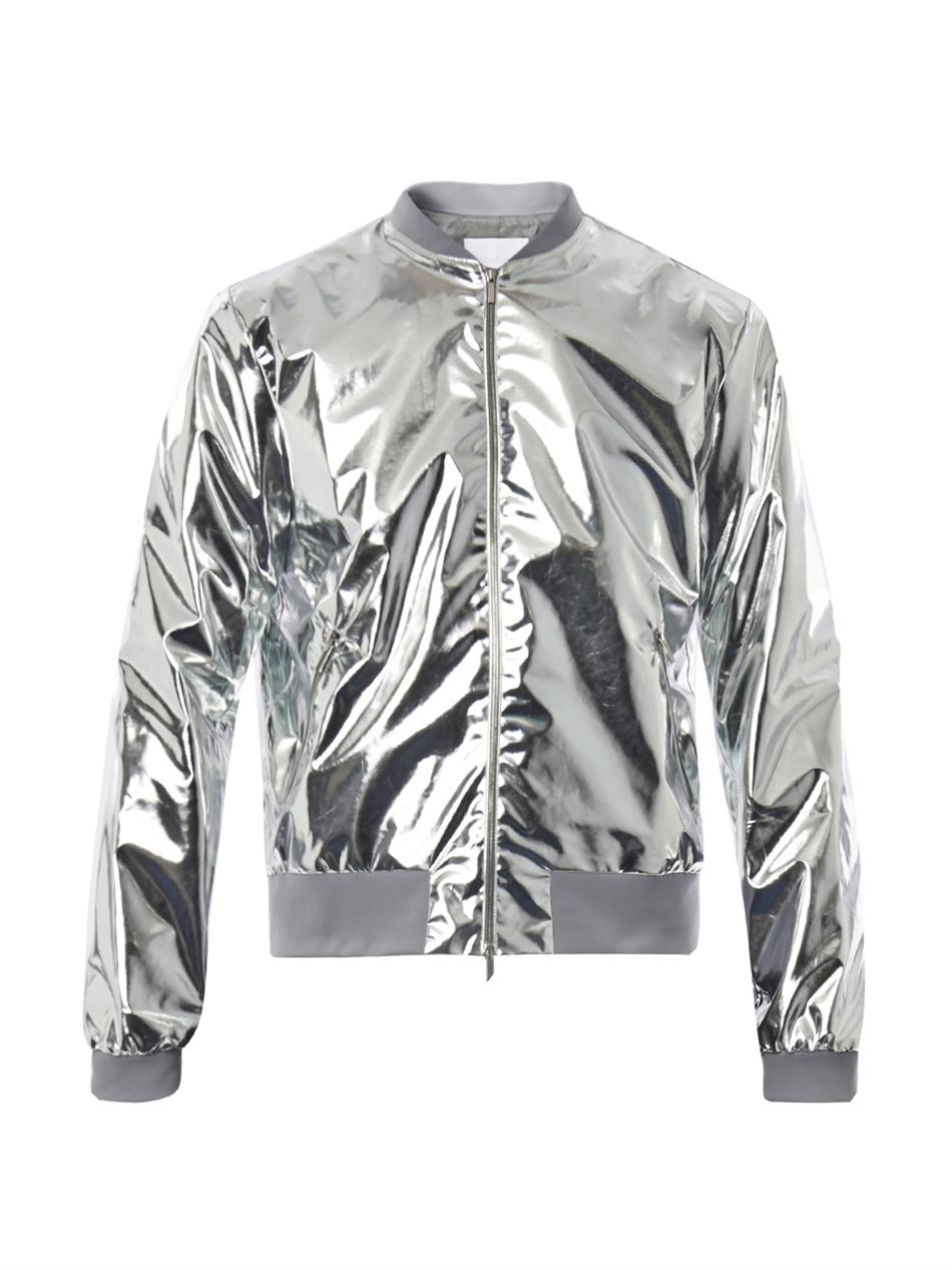 Mens leather gloves for iphone - Richard Nicoll Metallic Lightweight Bomber Jacket In Metallic For Men