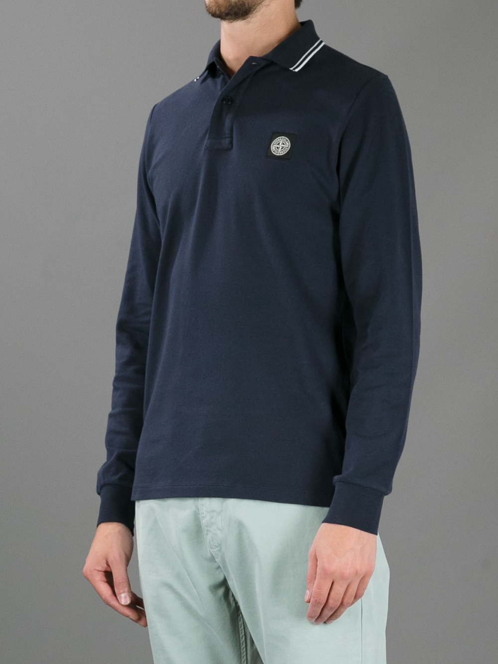 Stone Island Long Sleeve Polo Shirt In Blue For Men Lyst