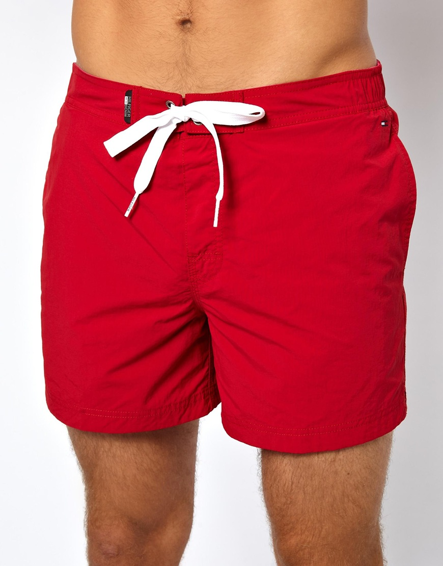 Tommy hilfiger Denim Flag Swim Shorts in Red for Men | Lyst