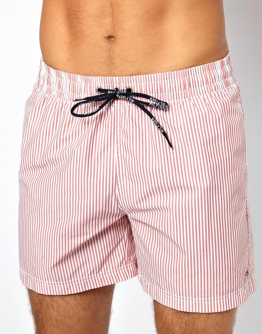 7342db7a912983 Lyst - Tommy Hilfiger Denim Striped Swim Shorts in Red for Men