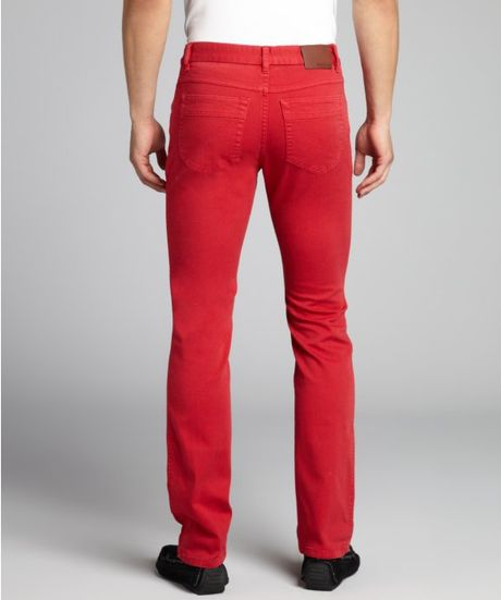 Zegna Sport Red Stretch Denim Straight Leg Slim Fit Jeans