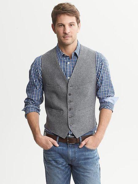 Banana Republic Herringbone Cotton Vest In Gray For Men