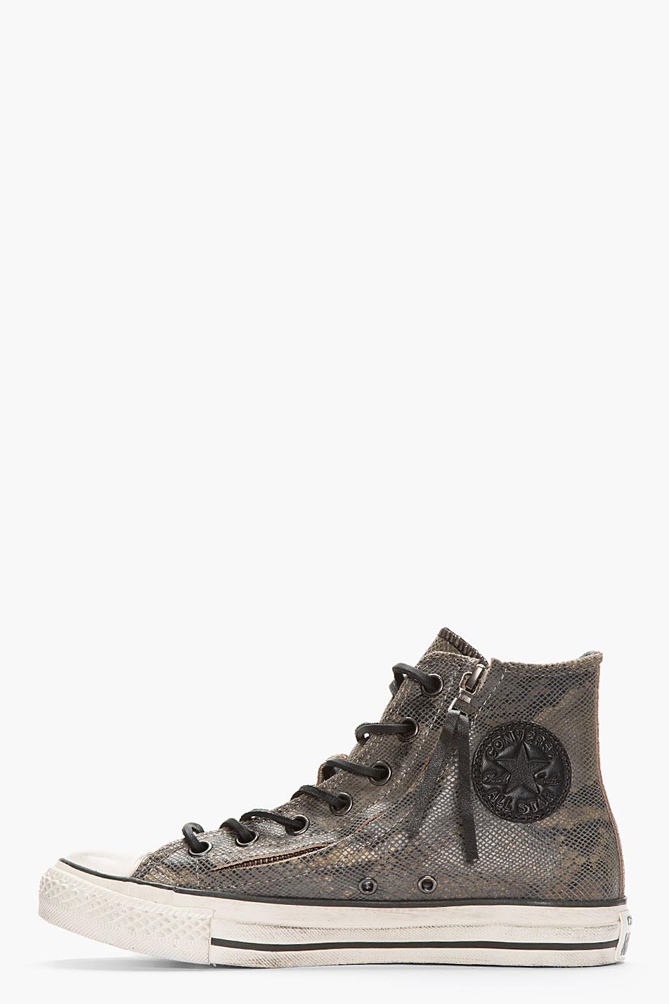4d5d61c0cb6 Lyst - Converse Dark Grey Snakeskin Suede Zippered Converse X All ...