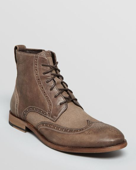 varvatos usa nyc vintage leather canvas wingtip boots