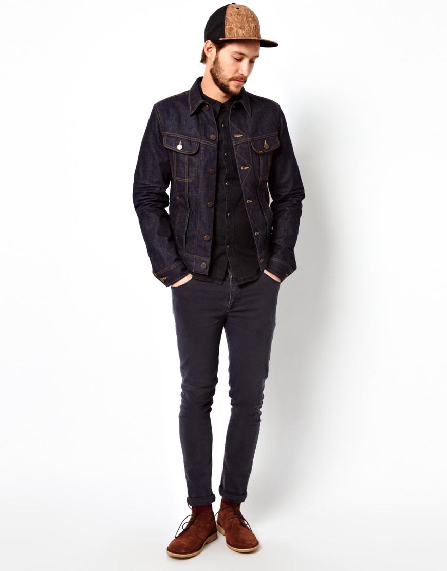 Asos Lee Denim Jacket Rider Slim Fit Worn Rinse in Blue for Men | Lyst