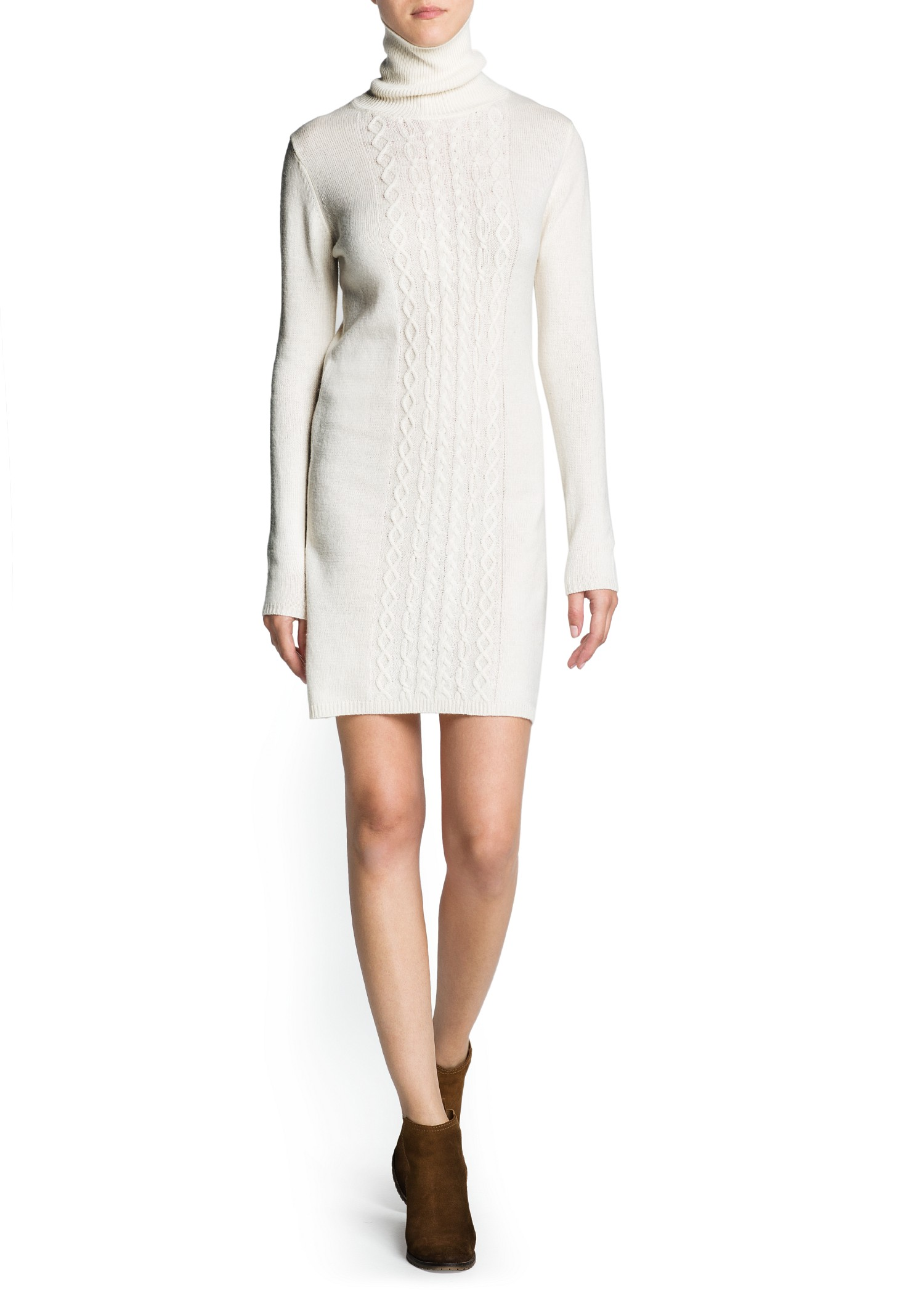 Knitting Pattern Turtleneck Dress : Mango Cable Knit Turtleneck Dress in White (Neutral) Lyst
