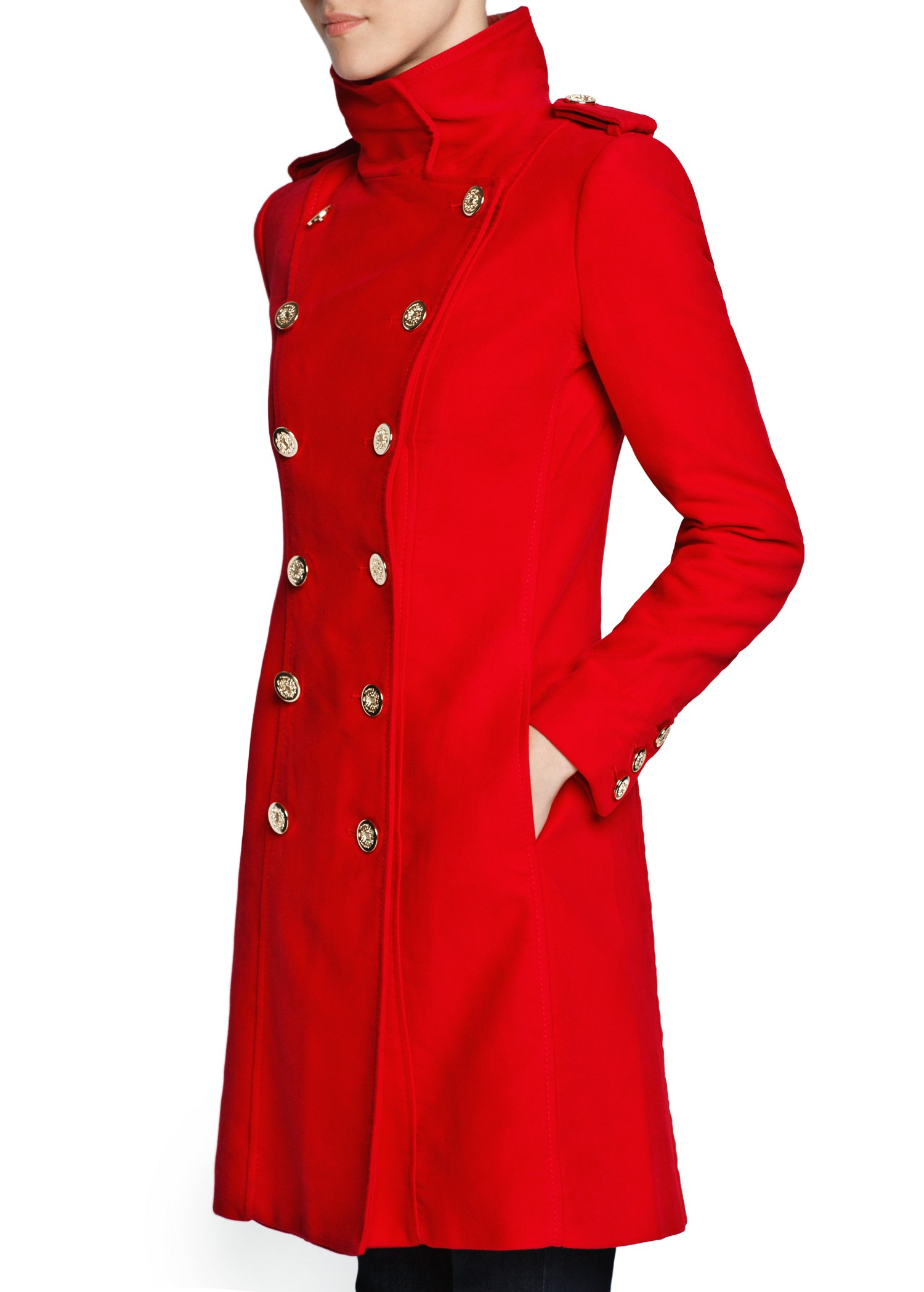 Lyst Mango Double Breasted Long Coat In Red