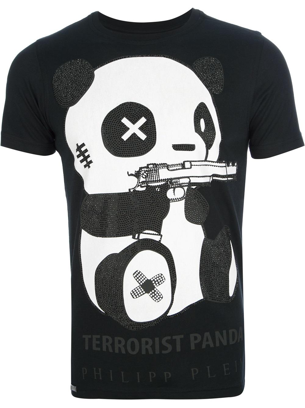 philipp plein terrorist panda tshirt in black for men lyst. Black Bedroom Furniture Sets. Home Design Ideas