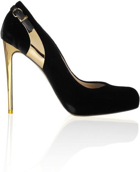 Stella Mccartney Metalheel Velvet Pumps in Black (gold)