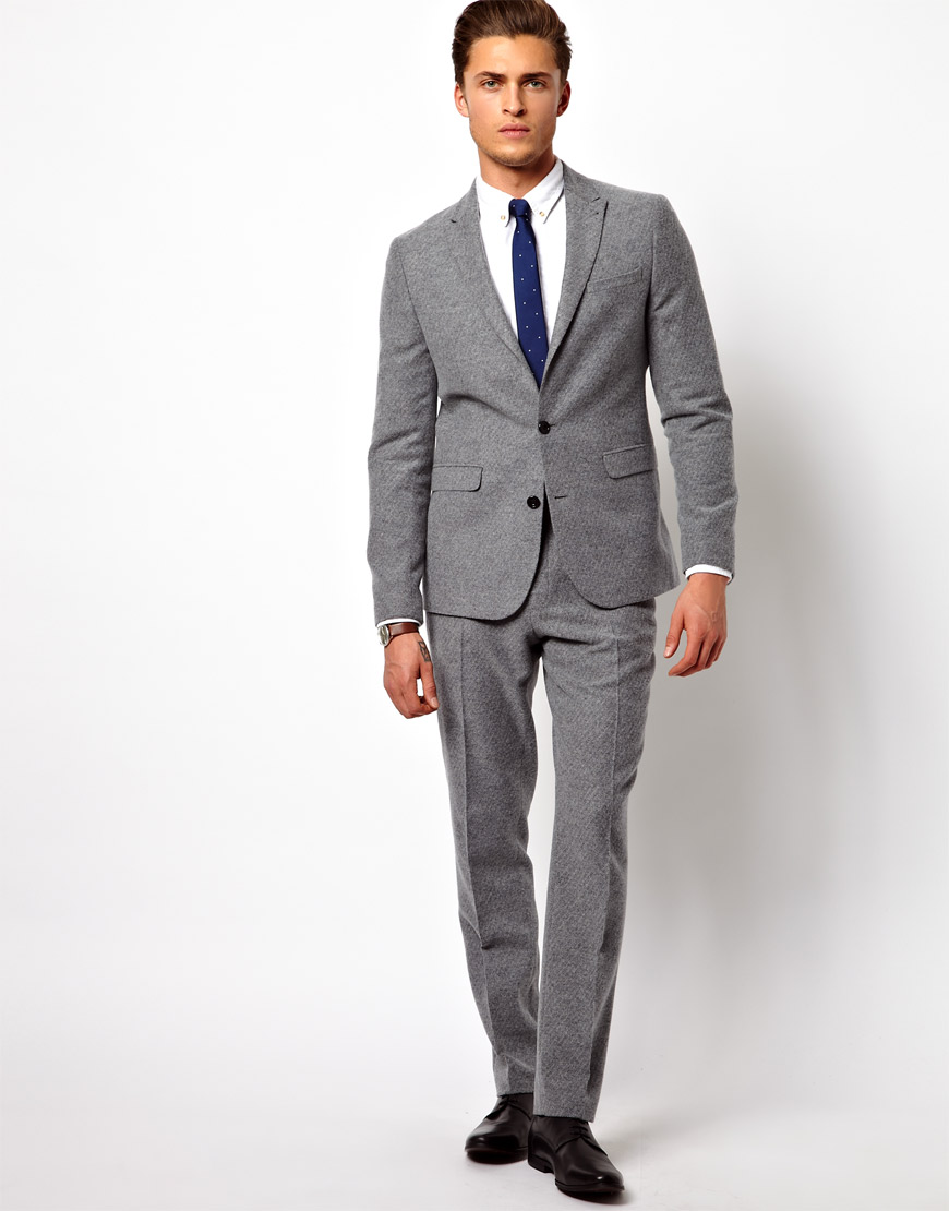 Blood brother Asos Slim Fit Suit Pants in Geo Design in Gray for ...