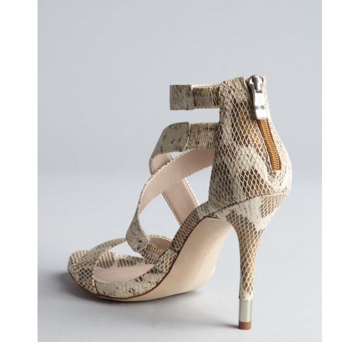 9dde2f40013 Bcbgeneration Tan Snake Print Leather Ivie Strappy Heel Sandals - Lyst