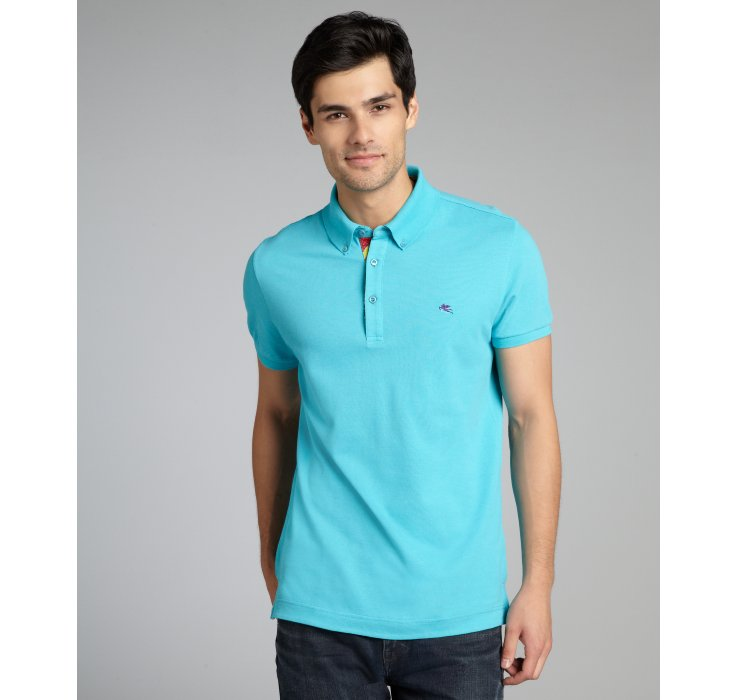 Etro turquoise cotton button down short sleeve polo shirt for Polo shirts without buttons