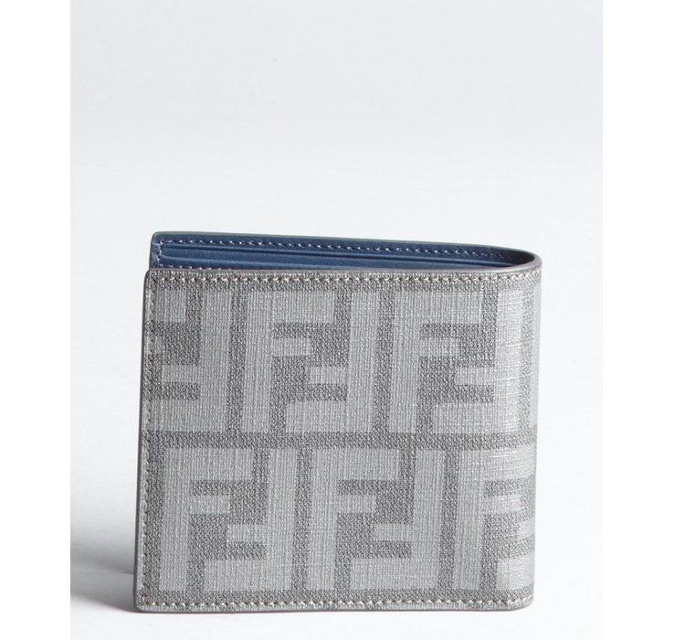 5b8e76e12ff8 closeout lyst fendi zucca zip around wallet in brown bd0d5 02e1f  australia lyst  fendi blue and grey zucca spalmati stripe bifold wallet in 89659 4d6c3