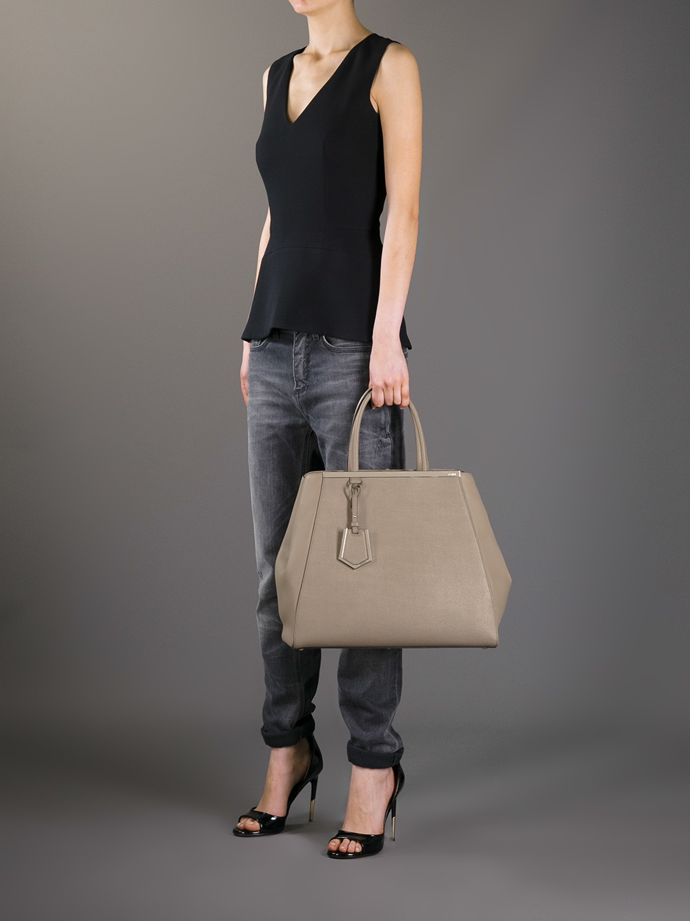 8185494fa1ff ... italy fendi 2jours large tote in brown lyst 7cec8 c545e