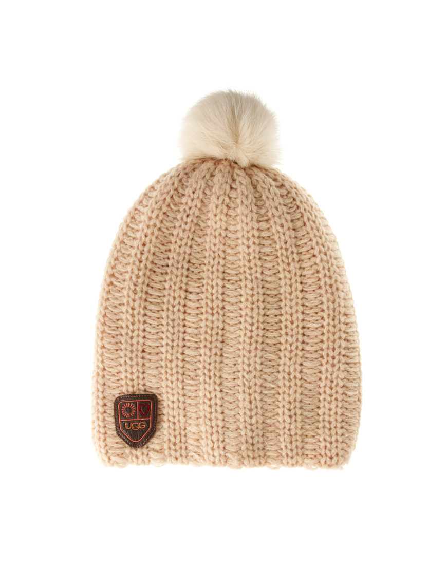 f58e8f1501835 Lyst - UGG Cardy Oversize Pom Pom Beanie in Natural