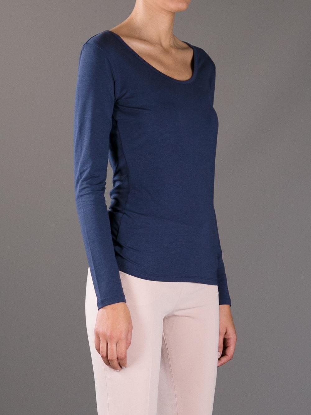 weekend by maxmara multib long sleeve tshirt in blue lyst