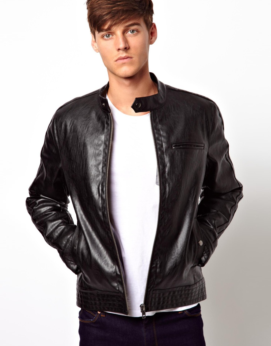asos faux leather biker jacket in black for men lyst