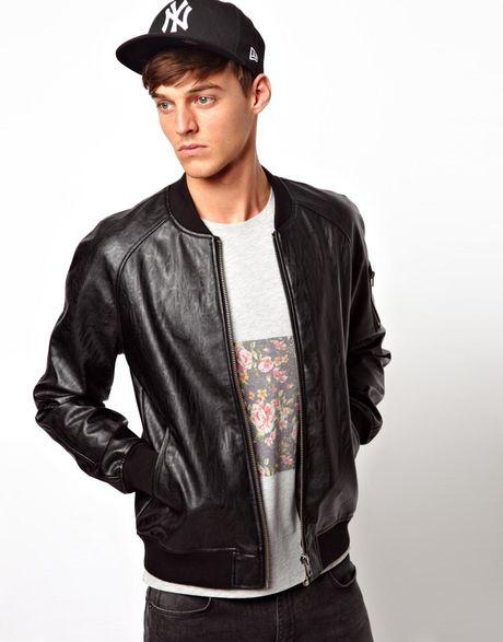 Asos Faux Leather Bomber Jacket In Black For Men Lyst