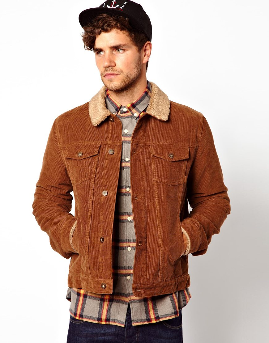 Asos Cord Jacket with Borg in Brown for Men | Lyst