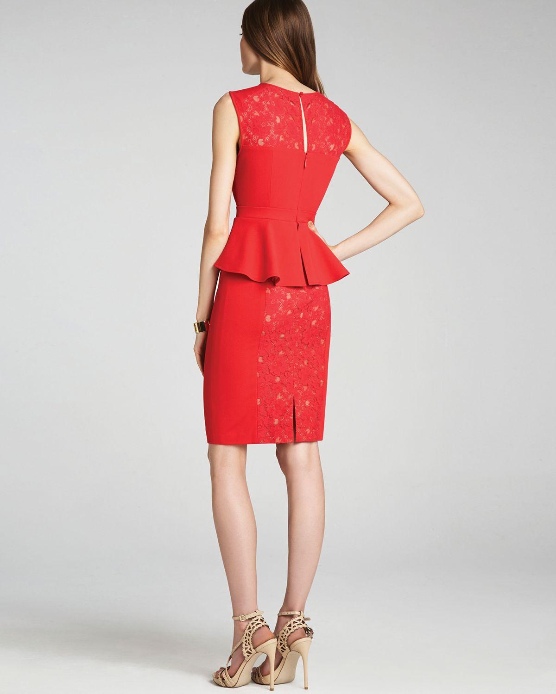 bcbg red peplum gown