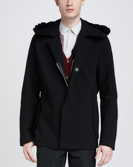 Lanvin tweed coat with leather hood black in black for men lyst
