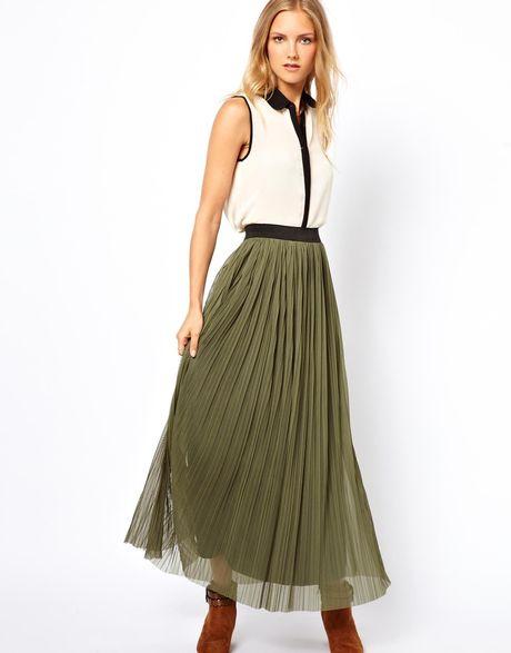 connection maxi skirt in khaki lyst