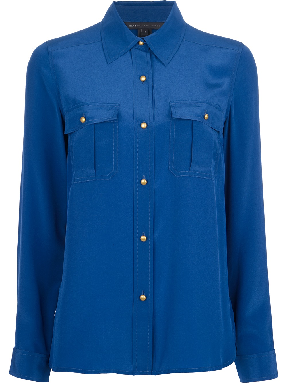 Marc by marc jacobs button down silk shirt in blue lyst for Silk button down shirt
