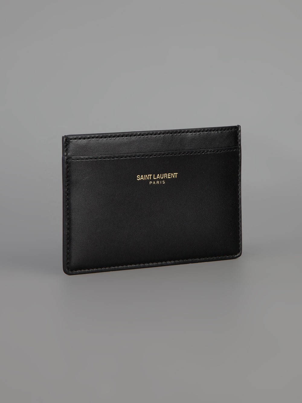 Saint Laurent Leather Card Holder In Black For Men Lyst