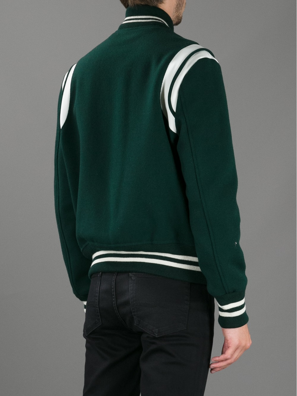 Lyst Saint Laurent Contrast Varsity Style Jacket In Green For Men