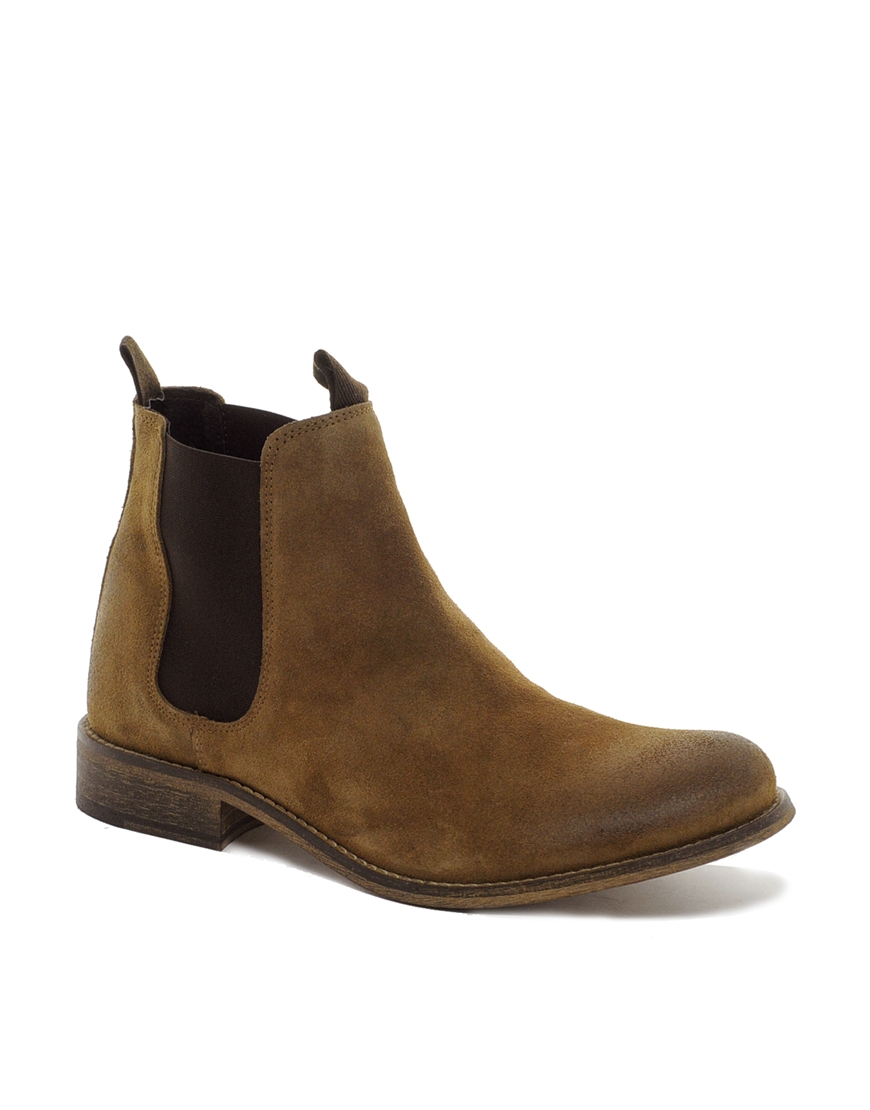 fred perry selected homme suede chelsea boots in brown for men lyst. Black Bedroom Furniture Sets. Home Design Ideas